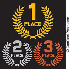 primeiro lugar, segundo lugar, e, terceiro