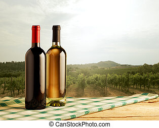 primeiro plano, garrafas vinho, paisagem, rural