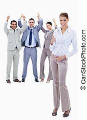 primeiro plano, pessoas negócio, cima, seu, polegares,...