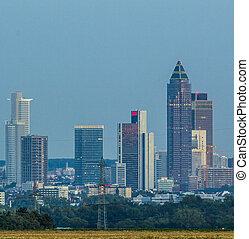 primeiro plano, skyline, frankfurt, campos
