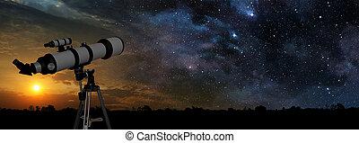 primeiro plano, telescópio, maneira, leitoso