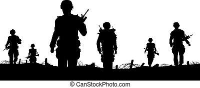 primeiro plano, tropas