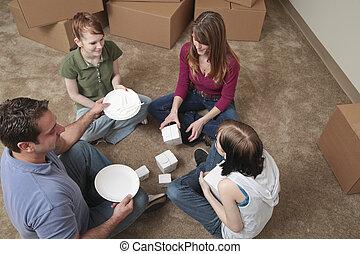 primeiro, refeição, em, a, casa nova