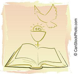 primeiro, santissimo, comunhão, -, espírito sagrado