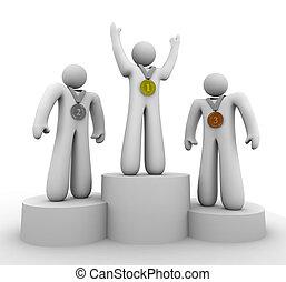 primeiro, segundo, terceiro lugar, -, vencedores, com, medalhas