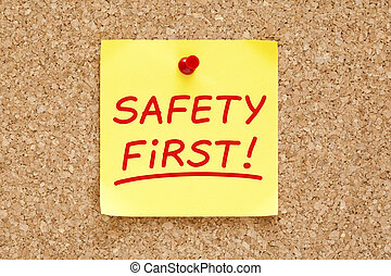 primeiro, segurança, nota, pegajoso