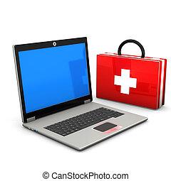 primeiros socorros, laptop