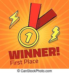 primer lugar, premio, medalla de oro, con, cinta roja, en, fondo amarillo, vector, icono, con, relámpago