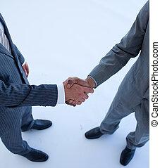 primer plano, apretón de manos, empresa / negocio