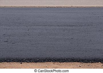 primer plano, asfalto, en, camino, bajo construcción