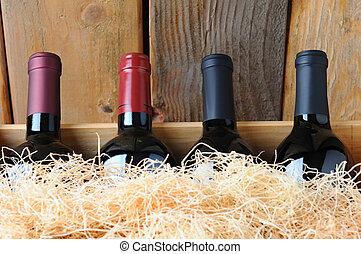 primer plano, botellas, cajón, vino