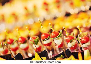 primer plano, buffet, alimento