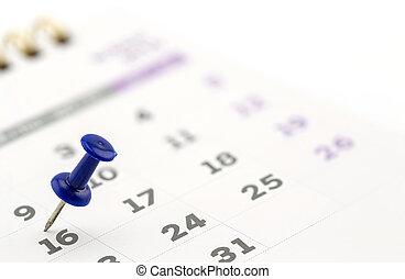 primer plano, calendario, página, con, dibujar-perno