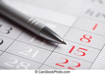 primer plano, calendario, página