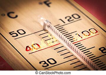 primer plano, caliente, temperatura, fahrenheit, o, celsius.