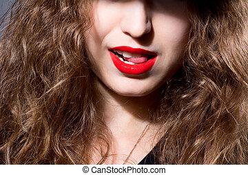 primer plano, cara, de, un, hermoso, niña, con, labios rojos