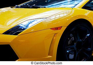 primer plano, coche, moderno, rápido, fondo., lujo, costoso