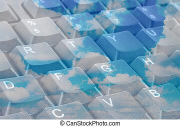 primer plano, concepto, informática, llaves, teclado, nube