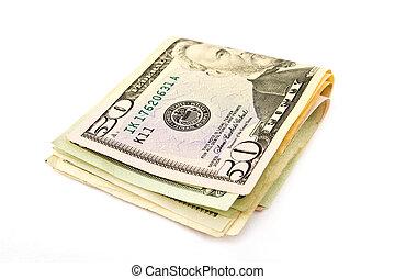 primer plano, dólares, aislado, blanco