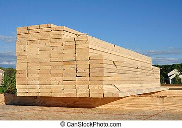 primer plano, de, apilado, madera