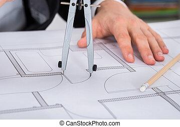 primer plano, de, arquitecto, manos, tenencia, compás