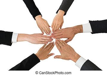 primer plano, de, businesspeople, manos