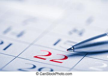 primer plano, de, calendario, página