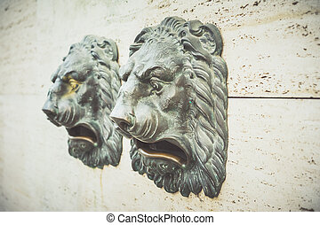 primer plano, de, dos, león dirige, en, pared