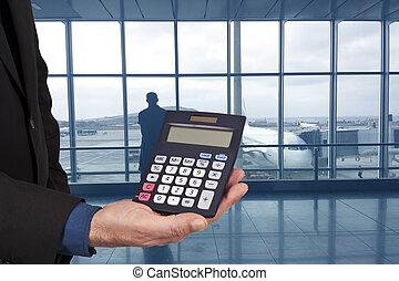 primer plano, de, el, calculadora, en, mano, concepto, de, finanzas, y, economía