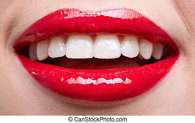 primer plano, de, hembra, labios rojos