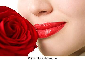 primer plano, de, hermoso, niña, con, rosa roja