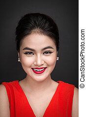 primer plano, de, hermoso, sexy, niña, con, brillante, maquillaje, y, rojo, lips., belleza, moda, asiático, woman.