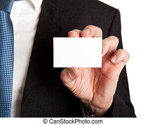 primer plano, de, hombre de negocios, tenencia, blanco, tarjeta