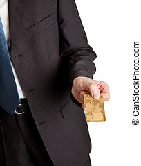primer plano, de, hombre de negocios, tenencia, tarjeta de crédito