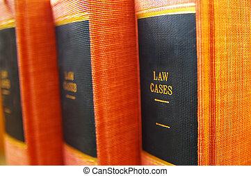 primer plano, de, libros de ley, en, estante