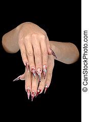 primer plano, de, mano, de, mujer joven, largo, nail-art,...