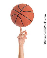 primer plano, de, mano, girar, pelota de canasta