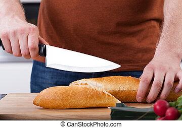 primer plano de manos, corte, bread