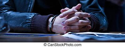 primer plano de manos, de, sospechoso