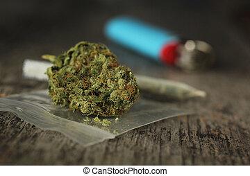 primer plano, de, marijuana, coyuntura, y, brotes, y azul,...
