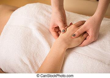 primer plano, de, masaje