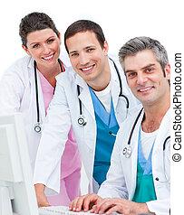 primer plano, de, medicam, equipo