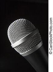 primer plano, de, micrófono