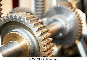 primer plano, de, motor, engranajes, en, eje