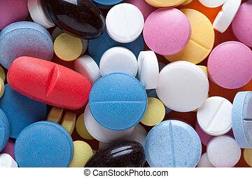 primer plano, de, multicolor, medicaments