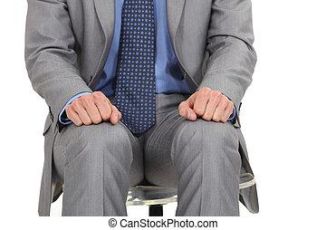 primer plano, de, nervioso, hombre de negocios