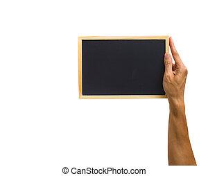 primer plano, de, tenencia de la mano, pequeño, pizarra, aislado, blanco, fondo., ruta de recorte, de, tenencia de la mano, objeto, contra, blanco, fondo.