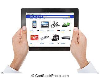 primer plano, de, tenencia de la mano, tableta de digital