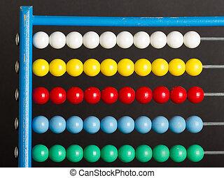 primer plano, de, un, ábaco, en, un, gris, plano de fondo