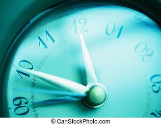 primer plano, de, un, azul, reloj